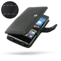 Leather Book Case for LG Optimus 4X HD P880 (Purple Stitch)