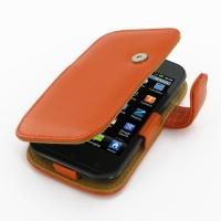 LG Optimus SOL Leather Flip Cover (Orange) PDair Premium Hadmade Genuine Leather Protective Case Sleeve Wallet