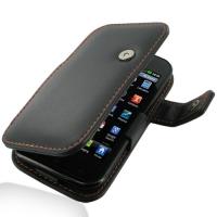 LG Optimus SOL Leather Flip Cover (Orange Stitch) PDair Premium Hadmade Genuine Leather Protective Case Sleeve Wallet