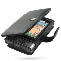 Leather Book Case for Mitac Mio P560t P360 (Black)