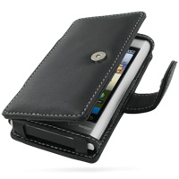Motorola DEVOUR A555 Leather Flip Cover (Black) PDair Premium Hadmade Genuine Leather Protective Case Sleeve Wallet