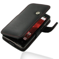Motorola Droid Bionic Leather Flip Cover (Red Stitch) PDair Premium Hadmade Genuine Leather Protective Case Sleeve Wallet