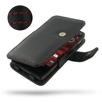 Motorola Electrify M Leather Flip Cover (Red Stitch) PDair Premium Hadmade Genuine Leather Protective Case Sleeve Wallet