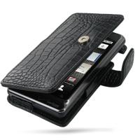 Motorola Milestone 2 / DROID 2 Leather Flip Cover (Black Croc) PDair Premium Hadmade Genuine Leather Protective Case Sleeve Wallet
