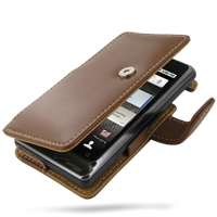 Motorola Milestone 2 / DROID 2 Leather Flip Cover (Brown) PDair Premium Hadmade Genuine Leather Protective Case Sleeve Wallet