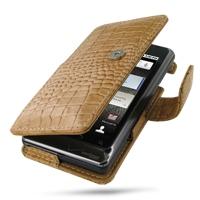 Motorola Milestone 2 / DROID 2 Leather Flip Cover (Brown Croc) PDair Premium Hadmade Genuine Leather Protective Case Sleeve Wallet