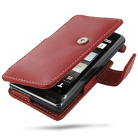 Motorola Milestone 2 / DROID 2 Leather Flip Cover (Red) PDair Premium Hadmade Genuine Leather Protective Case Sleeve Wallet