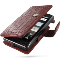 Leather Book Case for Motorola Milestone 2 A953/DROID 2 A955 (Red Crocodile Pattern)
