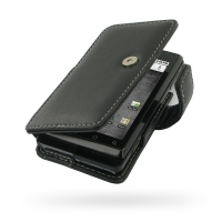 Leather Book Case for Motorola Milestone A855 (Black)