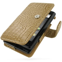 Leather Book Case for Motorola Milestone A855 (Brown Crocodile Pattern)