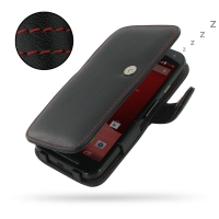 Moto G 2nd Gen Leather Flip Cover (Red Stitch) PDair Premium Hadmade Genuine Leather Protective Case Sleeve Wallet