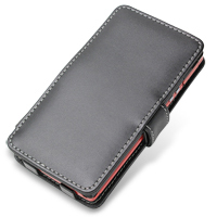 NEC MEDIAS LTE N-04D Leather Flip Cover (Black) PDair Premium Hadmade Genuine Leather Protective Case Sleeve Wallet