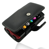 Nokia 500 Leather Flip Cover (Black) PDair Premium Hadmade Genuine Leather Protective Case Sleeve Wallet