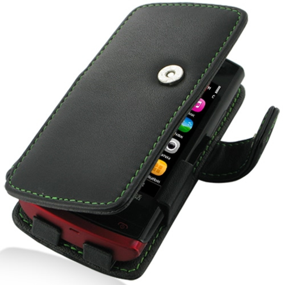 Leather Book Case for Nokia 500 (Green Stitch)