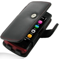 Nokia 500 Leather Flip Cover (Red Stitch) PDair Premium Hadmade Genuine Leather Protective Case Sleeve Wallet