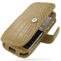 Nokia E72 Leather Flip Cover (Brown Croc) PDair Premium Hadmade Genuine Leather Protective Case Sleeve Wallet
