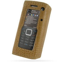 Nokia E90 Communicator Leather Flip Cover (Brown Croc) PDair Premium Hadmade Genuine Leather Protective Case Sleeve Wallet