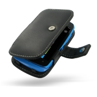 Nokia Lumia 610 Leather Flip Cover (Black) PDair Premium Hadmade Genuine Leather Protective Case Sleeve Wallet