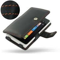 Nokia Lumia 900 Leather Flip Cover (Orange Stitch) PDair Premium Hadmade Genuine Leather Protective Case Sleeve Wallet