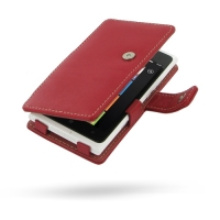 Nokia Lumia 900 Leather Flip Cover (Red) PDair Premium Hadmade Genuine Leather Protective Case Sleeve Wallet