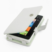 Nokia Lumia 900 Leather Flip Cover (White) PDair Premium Hadmade Genuine Leather Protective Case Sleeve Wallet