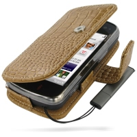 Leather Book Case for Nokia N97 (Brown Crocodile Pattern)