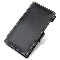 Panasonic Eluga Leather Flip Cover (Black) PDair Premium Hadmade Genuine Leather Protective Case Sleeve Wallet