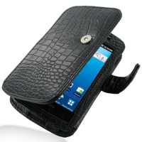 Leather Book Case for Samsung Captivate Galaxy S SGH-i897 (Black Crocodile Pattern)