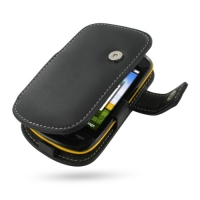 Leather Book Case for Samsung Corby II S3850 (Black)
