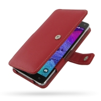 Leather Book Case for Samsung Galaxy Note 4 | Samsung Galaxy Note4 | SM-N910 without Belt Clip (Red)