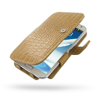 Leather Book Case for Samsung Galaxy Note 2 | Samsung Galaxy Note2 | GT-N7100 (Brown Crocodile Pattern)