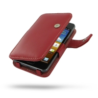 Samsung Galaxy R Leather Flip Cover (Red) PDair Premium Hadmade Genuine Leather Protective Case Sleeve Wallet