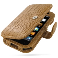 Samsung Galaxy S / Plus Leather Flip Cover (Brown Croc) PDair Premium Hadmade Genuine Leather Protective Case Sleeve Wallet