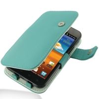 Leather Book Case for Samsung Galaxy S II Epic 4G Touch SPH-D710 (Aqua)