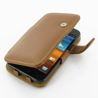 Leather Book Case for Samsung Galaxy S II Epic 4G Touch SPH-D710 (Brown)