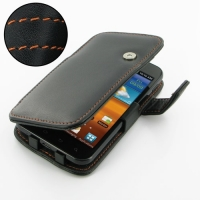 Leather Book Case for Samsung Galaxy S II Epic 4G Touch SPH-D710 (Orange Stitch)