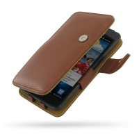 Leather Book Case for Samsung Galaxy S II GT-i9100 (Brown Pebble Leather)