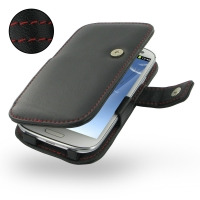 Leather Book Case for Samsung Galaxy S III S3 GT-i9300 (Red Stitch)