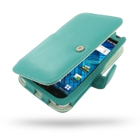 Samsung Galaxy S WiFi 5.0 Leather Flip Cover (Aqua) PDair Premium Hadmade Genuine Leather Protective Case Sleeve Wallet