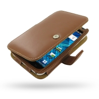 Samsung Galaxy S WiFi 5.0 Leather Flip Cover (Brown) PDair Premium Hadmade Genuine Leather Protective Case Sleeve Wallet