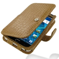 Samsung Galaxy S WiFi 5.0 Leather Flip Cover (Brown Croc) PDair Premium Hadmade Genuine Leather Protective Case Sleeve Wallet
