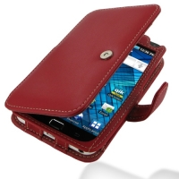 Samsung Galaxy S WiFi 5.0 Leather Flip Cover (Red) PDair Premium Hadmade Genuine Leather Protective Case Sleeve Wallet