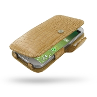Leather Book Case for Samsung Galaxy S4 SIV LTE GT-i9500 GT-i9505 (Brown Crocodile Pattern)