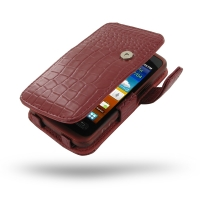 Samsung Galaxy xCcover Leather Flip Cover (Red Croc) PDair Premium Hadmade Genuine Leather Protective Case Sleeve Wallet