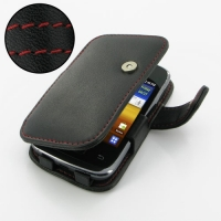 Leather Book Case for Samsung Galaxy Y Duos GT-S6102 (Red Stitch)