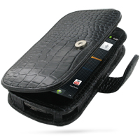 Leather Book Case for Samsung Google Nexus S GT-i9020T i9023 (Black Crocodile Pattern)