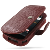 Leather Book Case for Samsung Google Nexus S GT-i9020T i9023 (Red Crocodile Pattern)