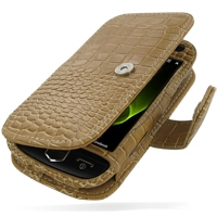 Leather Book Case for Samsung i8000 Omnia II (Brown Crocodile Pattern)