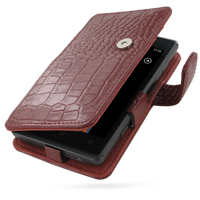 Leather Book Case for Samsung OMNIA 7 GT-i8700 (Red Crocodile Pattern)