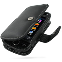 Leather Book Case for Samsung S8000 Jet (Black)